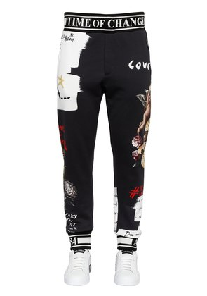 ANGELS PRINTED COTTON JERSEY SWEATPANTS