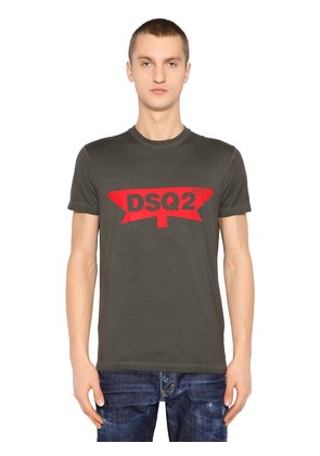 DSQ2 PRINTED COTTON JERSEY T-SHIRT