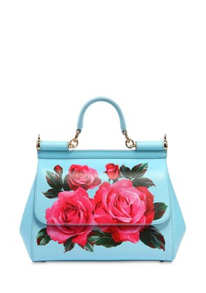 MEDIUM SICILY ROSES PRINTED LEATHER BAG