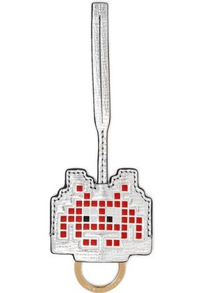 Anya Hindmarch Woman Space Invaders Metallic Textured-leather Keychain Silver Size -