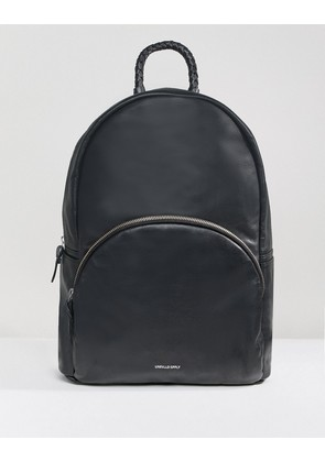 ASOS DESIGN Backpack In Leather In Black With Plait Handle And Foil Logo - Black