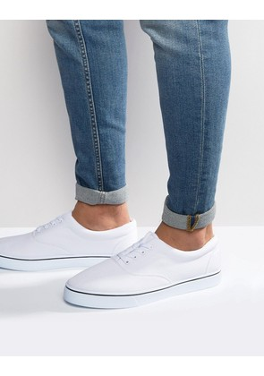 ASOS Lace Up Plimsolls In White - White