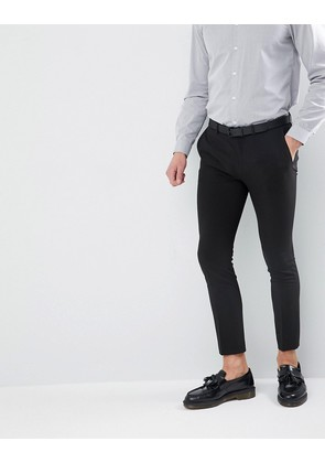 ASOS Extreme Super Skinny Cropped Smart Trousers in Black - Black