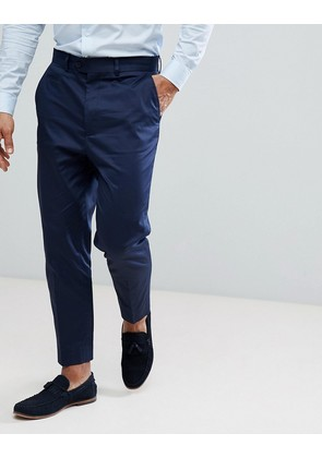 ASOS Tapered Smart Trousers In Navy Cotton Sateen - Navy