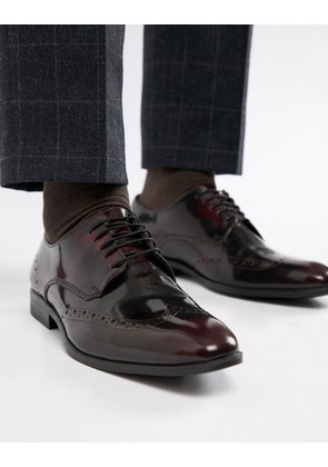ASOS DESIGN Brogue Shoes In Burgundy Leather - Burgundy
