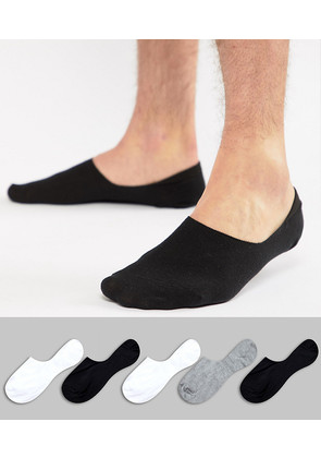 ASOS Invisible Socks In Monochrome 5 Pack - Multi