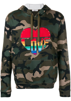 Valentino Love camouflage hoodie - Green