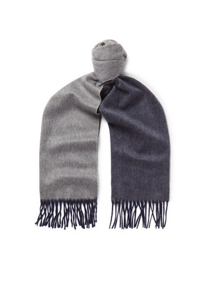 Arran Fringed Two-tone Cashmere Scarf