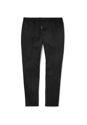 Slim-fit Tapered Stretch-cotton Drawstring Trousers
