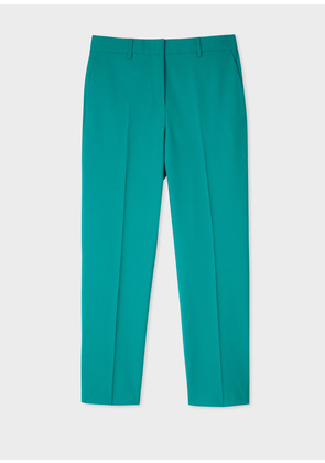 Women's Slim-Fit Turquoise Wool-Blend Trousers