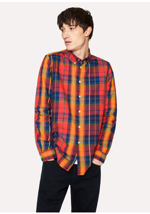 Men's Tailored-Fit Red Check Cotton Button-Down Shirt