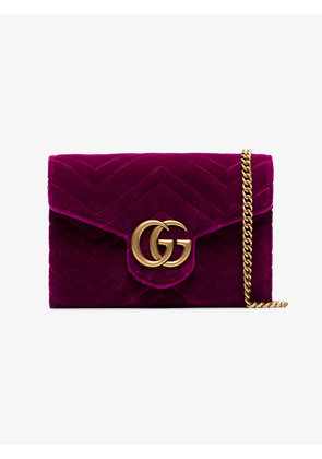 Gucci fuchsia GG Marmont velvet wallet on a chain