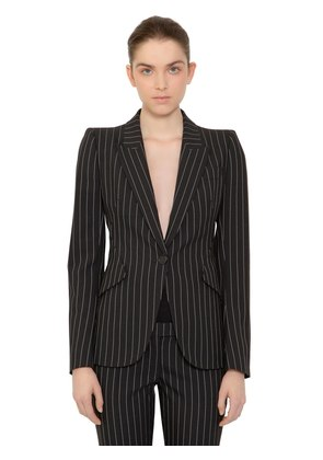 STRIPED SINGLE BREASTED WOOL JACKET