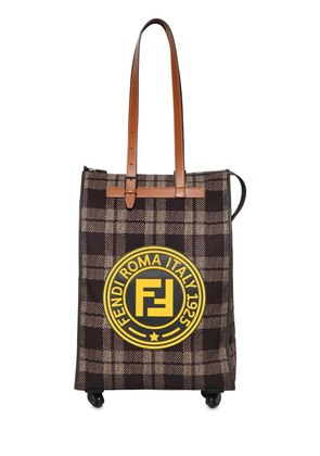 CIRCLE LOGO PLAID CANVAS ROLLING BAG