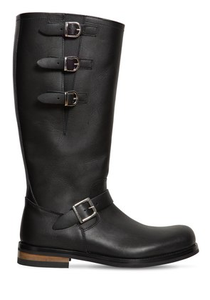 40MM LEATHER BOOTS W/ BUCKLES