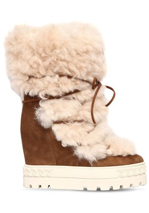 120MM SHEARLING & SUEDE SNEAKER BOOTS