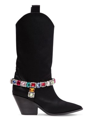 60MM RODEO CRYSTALS SATIN COWBOY BOOTS