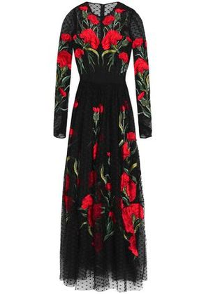 Dolce & Gabbana Woman Embroidered Point D'esprit Maxi Dress Black Size 40