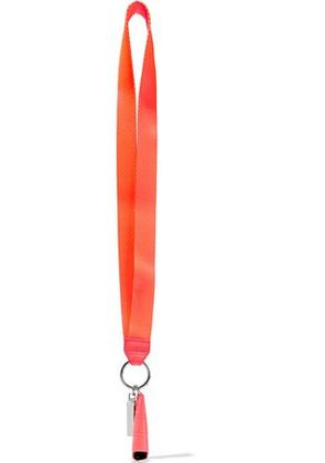 Alexander Wang Woman Leather-trimmed Neon Twill Keychain Coral Size -