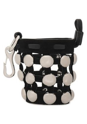 Alexander Wang Woman Studded Leather And Suede Keychain Black Size -