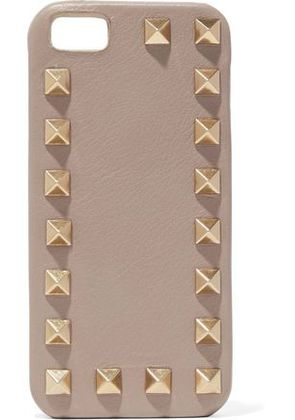 Valentino Woman Rockstud Leather Iphone Case Mushroom Size -