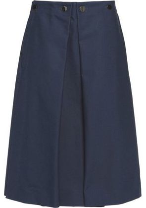 Jil Sander Woman Button-detailed Pleated Cotton-canvas Skirt Navy Size 36