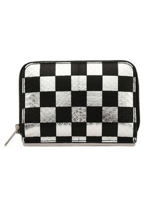 Alexander Wang Woman Checked Metallic Snake-effect Leather Wallet Silver Size -