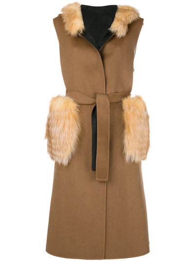 Liska fur details sleeveless coat Free Shipping Low Shipping Latest Free Shipping For Sale Sale Best Store To Get LPKbuD