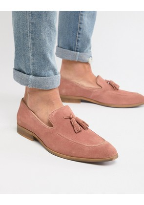 ASOS DESIGN Loafers In Pink Suede With Natural Sole - Pink