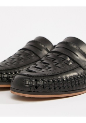 ASOS DESIGN Loafers In Woven Black Leather - Black