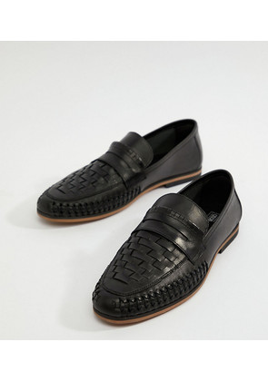 ASOS DESIGN Wide Fit Loafers In Woven Black Leather - Black