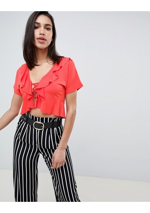 ASOS DESIGN ruffle lace up top with short sleeve - Coral orange