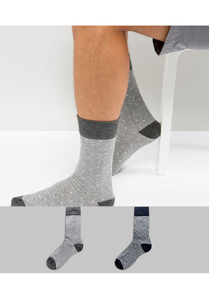 Selected Homme Stripe Socks In 2 Pack With Dot Print - Dark grey melange