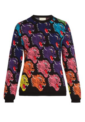 Panther face wool sweater