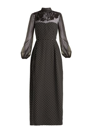 Polka-dot wool and silk-blend gown