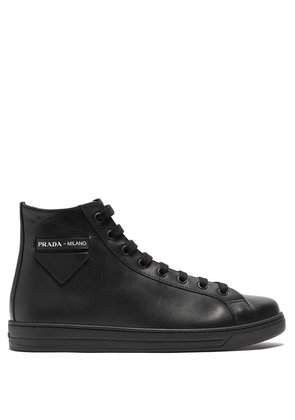 High top calf leather trainers
