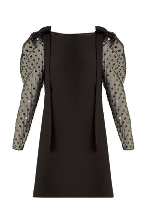 Boat-neck sequin and bead-embellished mini dress