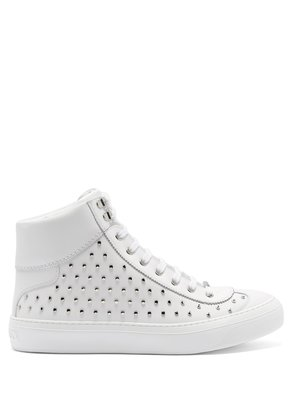 Argyle high-top stud-embellished leather trainers