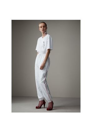 Burberry Contrast Piping Poplin Track Pants, White