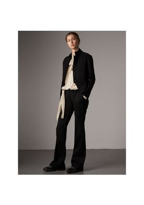 Burberry Wide-leg Wool Tailored Trousers, Size: 06, Black