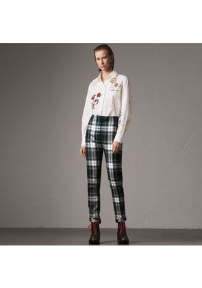 Burberry Tartan Wool High-waisted Stirrup Trousers, Size: 02, Blue