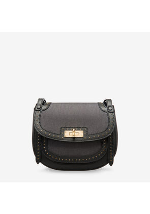 Bally She Black, Women's denim and leather saddle bag in black