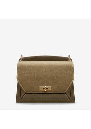 Bally Suzy Medium Brown, Women's grained goat leather shoulder bag in caki