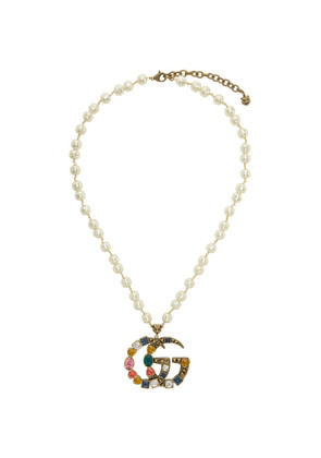 Gucci Off-White Crystal Pearl Pendant Necklace