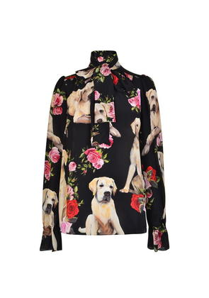 DOLCE AND GABBANA Pussy Bow Floral Dog Blouse