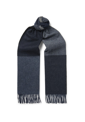 Begg & Co - Vigo Fringed Colour-block Wool And Cashmere-blend Scarf - Blue