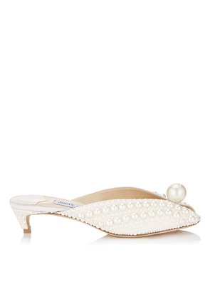 SAMANTHA 35 White Satin Mules with All Over Pearls