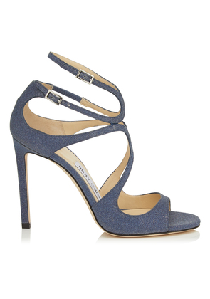 LANG Navy Fine Glitter Leather Sandals
