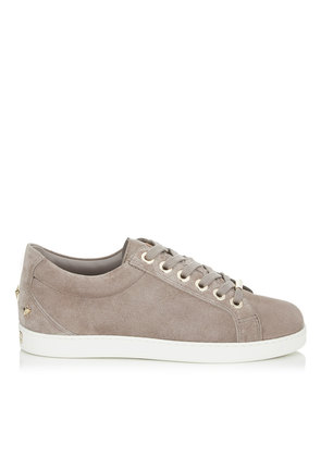 CASH/F Opal Grey Velvet Suede Low Top Trainers