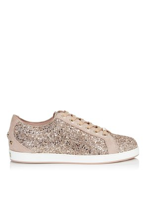CASH/F Ballet Pink Shadow Coarse Glitter Fabric Low Top Trainers